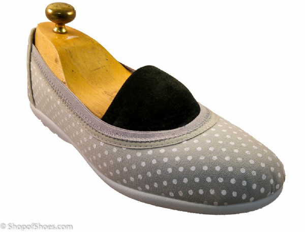 Grey spotty stetchy super comfy summer canvas shoe with silver print EE-4E variable fit.